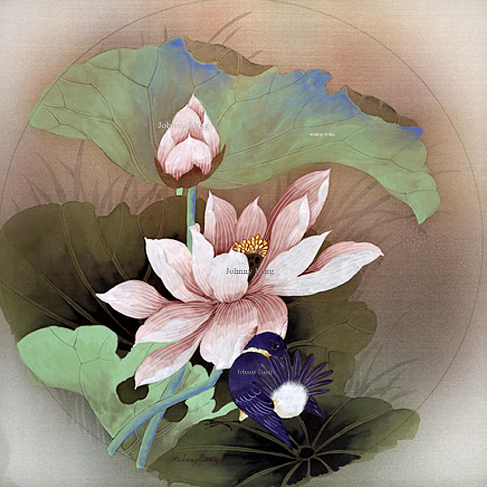 The collection johnny lung master chinese painter blue bird playing on lotus izmirmasajfo